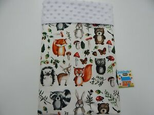 "Baby Blanket Forest Friends 80cm x 60cm (33""x 25"") Minkee Dot Back"