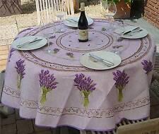 Tischdecke Provence 180 cm rund flieder Lavendel aus Frankreich, bügelfrei