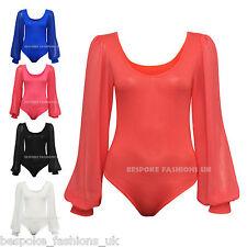 New Womens Long Sleeve Chiffon Bodysuit Top Ladies Plain Body Top Leotard 8-22