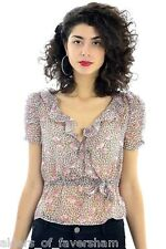 Ladies Summer Floral Flower Leopard Print Chiffon Ruffle Collar Blouse Top New