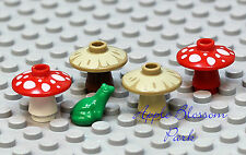 NEW Lego Lot/4 Minifig TOADSTOOL MUSHROOMS & 1 GREEN FROG - Red/White/Tan Plants