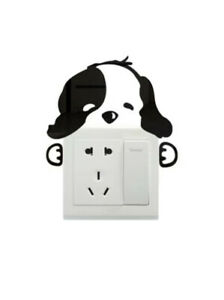 """NEW 5"""" Black Mirror Surface Puppy Dog Hugging Wall Switch Tile Acrylic Stickers"""