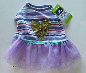 Top Paw Dog Dress Gold Glitter Heart Purple Tulle Skirt Striped Shirt NWT Size S