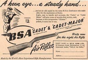 Vintage BSA Cadet and Cadet Major Air Rifle ADVERT - Original 1953