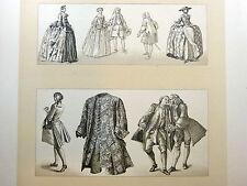 Costume France 18e s. Paniers - LITHOGRAPHIE ORIGINALE 19e Racinet GRAVURE MODE