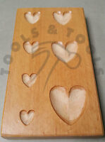 HEART SHAPE WOOD DAPPING BLOCK JEWELRY METAL WOODEN FORMING SHAPING TOOL 7 SIZES