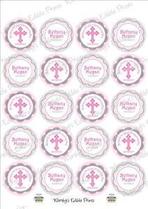 Personalised Christening Cupcake Topper Edible Icing 20 X 5cm