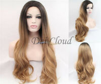 New Women Ombre Gold Long Curly Wavy Synthetic Lace Front Wig Cosplay Hair Wigs