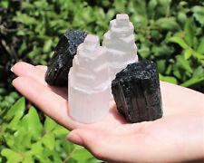 2 Selenite Towers & 2 Extra Grade Black Tourmaline Logs: Home Protection Kit
