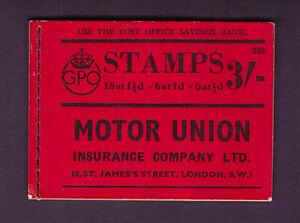 BD22 George VI 3/- Skeleton booklet. Edition 352. 14 stamps remaining.