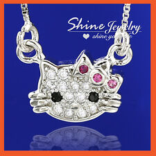 18K GOLD FILLED RUBY PINK CRYSTAL HELLO KITTY CAT GIRLS KIDS GIFT SOLID NECKLACE