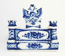More details for russian gzhel style blue and white pottery eagle candlestick c1991 signed