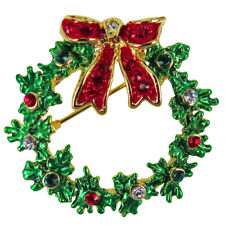 RUCINNI Wreath/Ribbon Brooch, 20K Gold plated and Swarovski Crystals