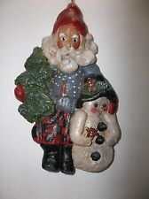 1998 House Of Hatten Santa And Snowman Christmas Tree Ornament 8.5""