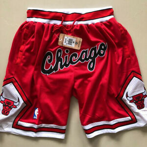 Chicago Bulls Basketball Shorts Men's Red Pants NWT stitching