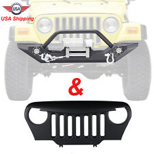 97-06 Jeep Wrangler TJ Front Black Bumper w/Winch Plate + Angry Bird Grille