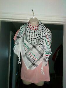Original Hirbawi Made in Palestine Kufiya Keffiyeh Scarf Shemagh Palestine Flag