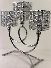 3 Fuß Kristall Kerzenständer Kerzenhalter Kerzenleuchter Kristalljuwelen Silber