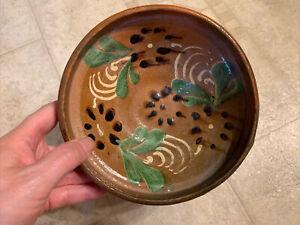 "18th Century European Redware Bowl 6 1/2""  W Green Cream & Black Slip Decoration"