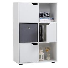 Bücherregal Raum Teiler Trenner Standregal mit 6 Fächern und 3 Türen in weiß