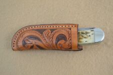 Knife Scabbard - Leather Rancher - Custom Made - Hand-tooled floral (I3)
