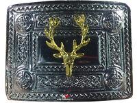 AAR Men's Kilt Belt Buckle Celtic Knot Work Chrome/Stag Heads Badge Gold Plated