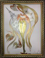 ORIGINAL Malerei PAINTING abstract abstrakt erotic EROTIK akt nu surrealismus A3