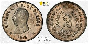 1915 MEXICO Oaxaca 2 Peso Silver Coin PCGS AU-Details ( Cleaned )