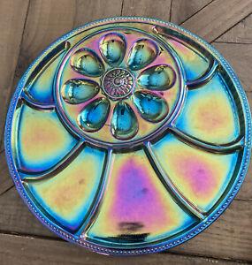 Vintage Indiana Blue Carnival Glass Deviled Egg & Relish Plate Platter