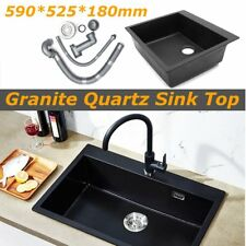 Black Granite Quartz Stone Kitchen Sink Top Undermount Single Bowl 59cmx52cm