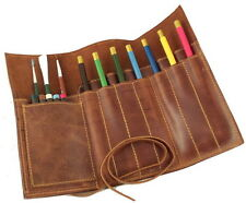 Vintage Classic Real Genuine Leather Handmade Pen Pencil Pouch Case Holder Roll