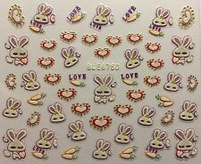 Nail Art 3D Decal Stickers Bunny Hearts Love Carrots Easter Bunny BLE675D