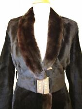100% Genuine Fur Kangaroo with Mink decor Long Coat Fit Uk 8 10 Good Condition