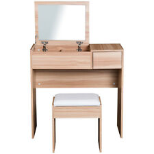 Dressing Table Set Cushioned Stool Drawer Flip-up Mirror Wood Grain Colour
