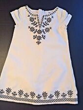 Girl's GAP Ivory Brown EMBROIDERED KAFTAN Tunic DRESS Size 8 Mexican Boho Linen
