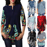 Womens Vintage Autumn Plus Size Tops Blouse 3/4 Short Sleeve Casual Tunic Shirts
