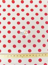 """BIG POLKA DOT POLY COTTON PRINT FABRIC-White/Red-SOLD BTY POLYCOTTON 58""""/59"""" P99"""