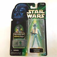 Star Wars Power of the Force Greedo w/ Blaster Hasbro 1999 Commtech Chip POTF