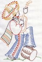 EMBROIDERED  - VINTAGE MEXICAN SENOR -FLOUR SACK DISH TOWEL-
