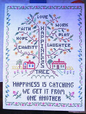 Happiness Tree Cross Stitch Sampler Little Red School House Faith Hope Charity