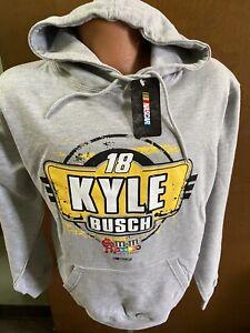 Kyle Busch #18 Nascar M&M'S Men's Gray Hoodie Sweatshirt 2XL
