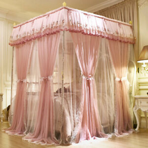 double layers mosquito net bed netting embroidered bed curtain drapes with tubes