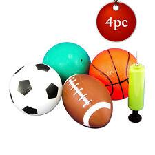 "5"" 4pc Kids Sports Balls w/ Pump Dodgeball Soccer Football Basketball Toy Party"