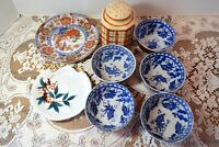 8 VINTAGE RICE BOWLS, PLATES, SHAKER LOT- MARKED SHOGUN & MADE IN JAPAN