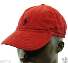 NEW POLO RALPH LAUREN PONY DISTRESSED VINTAGE LOOK RED BALL CAP HAT ONE SIZE