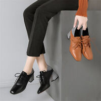 Retro Square Toe Women's Chunky Mid Heel Lace up Casual Leather Shoes Slip on