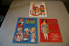 Lot of 3 Assorted Vintage 1980's Paper Doll Books Uncut Dolly Dingle, Etc.