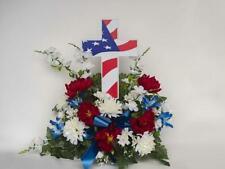 Eternal Light - Solar Lighted American Flag Cross - Grave Memorial - Cemetery