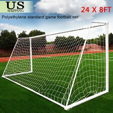 Full Size 24 x 8FT Football PE Net Soccer Goal Post Nets Sport Training Match