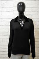 RALPH LAUREN Donna Taglia L Maglione Cardigan Maglia Pullover Sweater Women Nero